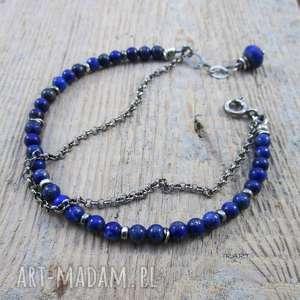 Delikatna z lapis lazuli - bransoletka, srebro, lapis, bransoletka