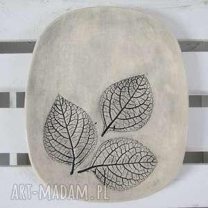 Prezent roślinny talerz ceramiczny, ekologiczny, prezent, parapetówka, naturalny