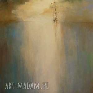 obraz na płótnie - morze 40 50 cm - morze, pejzaż, szary, łódź