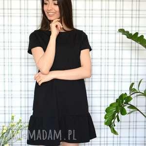 sukienki sukienka z falbaną s/m/l/xl czarna, dzianina, eko, falbana, lekka, zwiewna