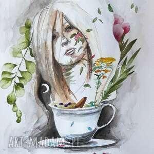 ziołowa herbata akwarela artystki adriany laube - obraz na papierze a3