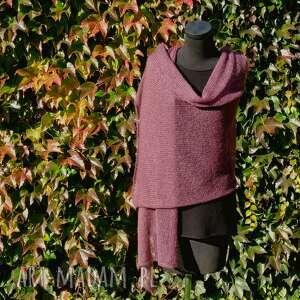 HERMINA: moherowy szal (wełniany szal, zimowy ciepły, z wełny, prezent dla)