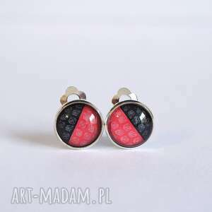 klipsy - czerwono czarne małe, klipsy, unikatowe, proste, casual, klasyczne