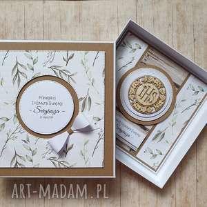 kartka w pudełku - wyjątkowy prezent zieleni, komunia, ślub, naturalny