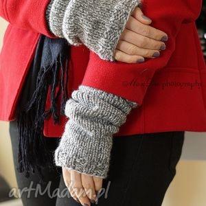 melanżowe rękawki, rękawiczki, mitenki, płaszcz, dziergane