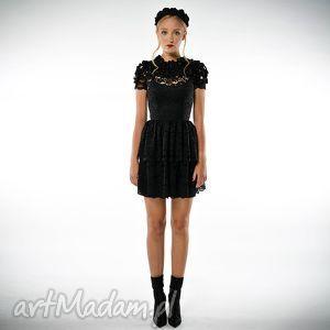 krzesława - sukienka koktajlowa z czarnej koronki, ekskluzywna, luksusowa