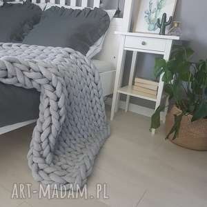 koce i narzuty rĘcznie pleciony koc baweŁniany knot blanket 120x90 silver gray