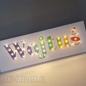 dla dziecka napis led twoje imię prezent obraz tęczowy lampa