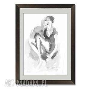 grafika czarno biała kobieta a3, ręcznie malowana, tusz na papierze, elegancki