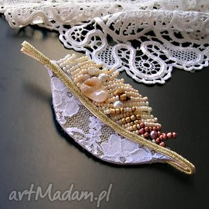 perłowa jesień - broszka beading , broszka, listek, liść, beading