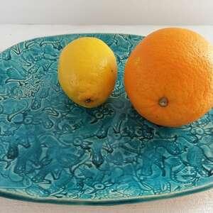 turkusowy talerz z wzorami, turkusowa, patera, ozdobny, wzorzysta, ceramiczna