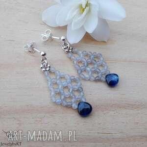 krople niebieskości - kolczyki, srebrne kolczyki z kamieniami
