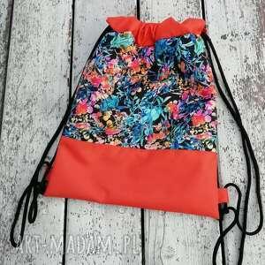 hand-made workoplecak, plecak, plecak ze sznurkami