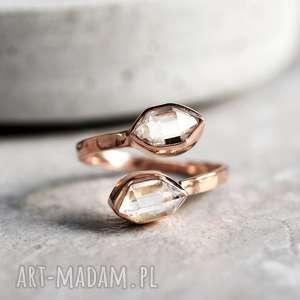 925/18k Różowo pozłacany pierścionek Diamenty Herkimer , kamienie, minerały, diament