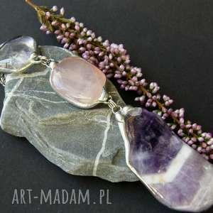 ręczne wykonanie naszyjniki secesyjny wisior z łańcuszkiem: z fioletowym ametystem