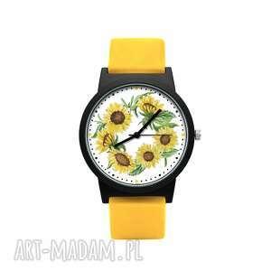 zegarki zegarek z silikonowym paskiem słoneczniki, kwiatowy, radosny, kolorowy