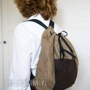 plecak, skóra, krata, brąz, laptop, unisex, święta