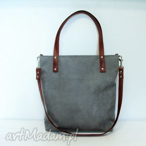 Shopper bag, szara, torba, modna, szyta, wygodna