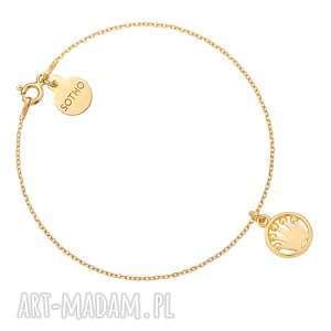 Złota bransoletka z koroną sotho bransoletka, zawieszka, okrągła