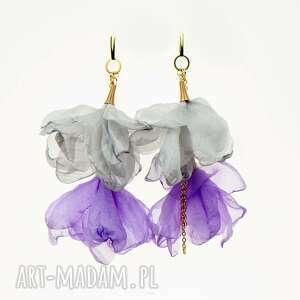 Liliowe kolczyki kwiatowe z łańcuszkiem c857 -11 artseko długie