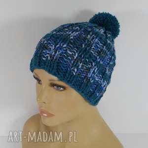 czapka w odcieniach szmargdowych - czapki, czapka, akryl