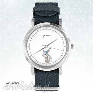 Prezent Zegarek, bransoletka - Zając grafitowy, zegarek, bransoletka, nato, zając