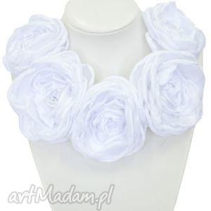naszyjniki kwiatowa kolia - model 11 biała, kolia, naszyjnik, broszki