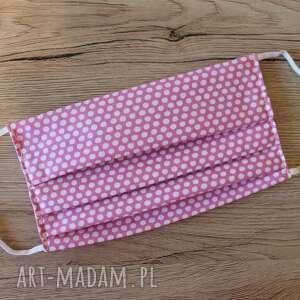Maseczka bawełniana - groszki różowe maseczki torebki niezwykle