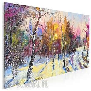 obraz na płótnie - las zima drzewa 120x80 cm 62601, zima, drzewa
