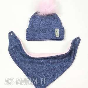 komplet zimowy - czapka z pomponem chusta podszyty polarem - czapka podszyta