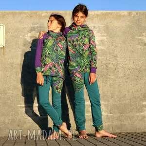dres dla dziewczynki 122 -134 cm - pawie pióra, dziewczęcy, kolorowy