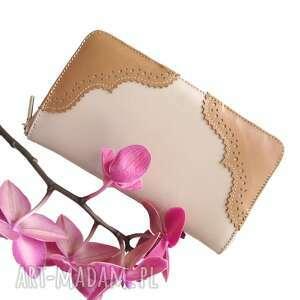 portmonetka skórzana na zamek bezowa, portmonetka, rękodzieło, portfel damski