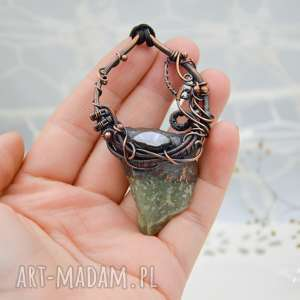 naszyjnik z surowym awenturynem i kamieniem księżycowym - naszyjnik z wisiorem