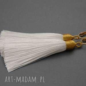 klipsy z chwostami, sznurek, eleganckie, wiszące, długie, ślub