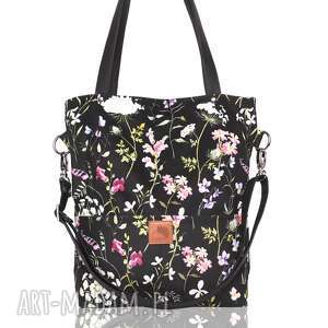 torebki piękna czarna torebka w kwiatowy wzór - łąka, letnia, jesienna, pojemna