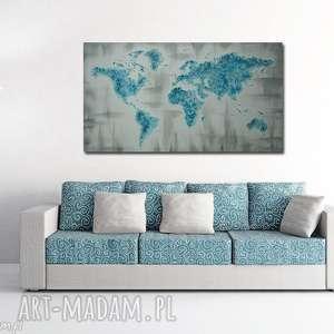 ręcznie malowana mapa świata 3d - 14 obraz 126x70cm turkusowa szara