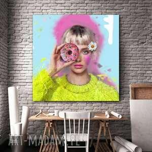 dekoracje obraz na płótnie lady donut 100x100 cm, obraz, plakat, obrazy