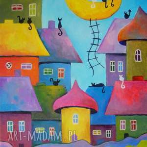 obraz na płótnie - bajkowe miasteczko 30/40 cm, abstrakcja, obraz, bajka, koty