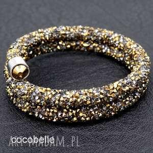 bransoletki galaxy- podwójna bransoletka z krysztalków/ grafit-złoto, złota, lśniąca