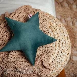 pokoik dziecka poduszka gwiazdka - zielona, rękodzieło, welur