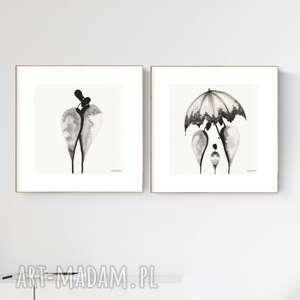 zestaw 2 grafik 30x30 cm wykonanych ręcznie, grafika czarno-biała, abstrakcja