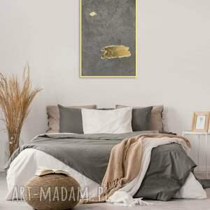 obraz beton złoto w ramie ręcznie wykonany, 70x50 cm, z betonu