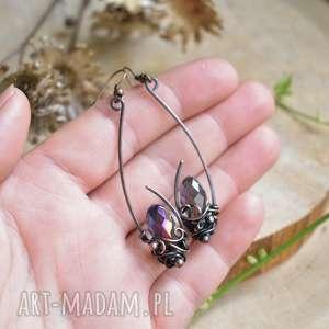 krople rosy - długie kolczyki z kryształkami, kryształy