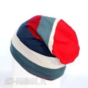 czapka damska męska wełniana, czapka, paski, damska, narty,