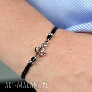 hand made bransoletki bransoletka damska (rzemienie i stal) kotwica czarna