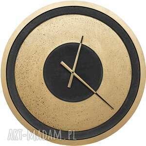 zegar betonowy złoty duży loft industrialny antracyt beton handmade nowoczesny
