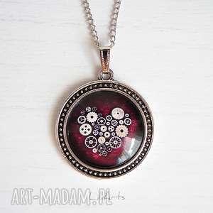 ręcznie wykonane naszyjniki medalion, naszyjnik - serce steampunk duży