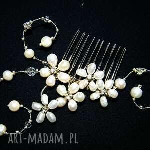 ślub grzebyk - perły naturalne kryształki ślub, grzebyk, perły, kryształki