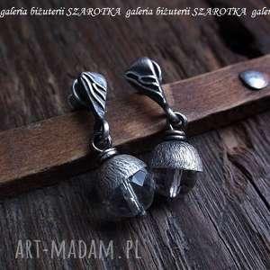 PURE kolczyki z kryształu górskiego i srebra, kryształ, górski, srebro, oksydowane,
