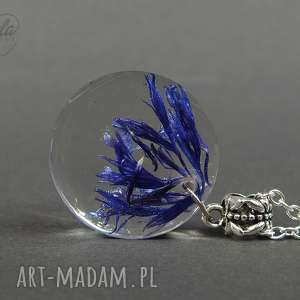 0059 ~mela~ wisiorek z żywicy BLUEL płatki chabru, wisiorek, naszyjnik, żywica, kwiat